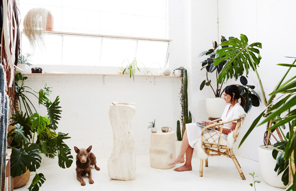 Camille Moir-Smith of Carpenter's Daughter and her studio sidekick Ru in her Northcote Studio. Photo – Annette O'Brien for The Design Files.