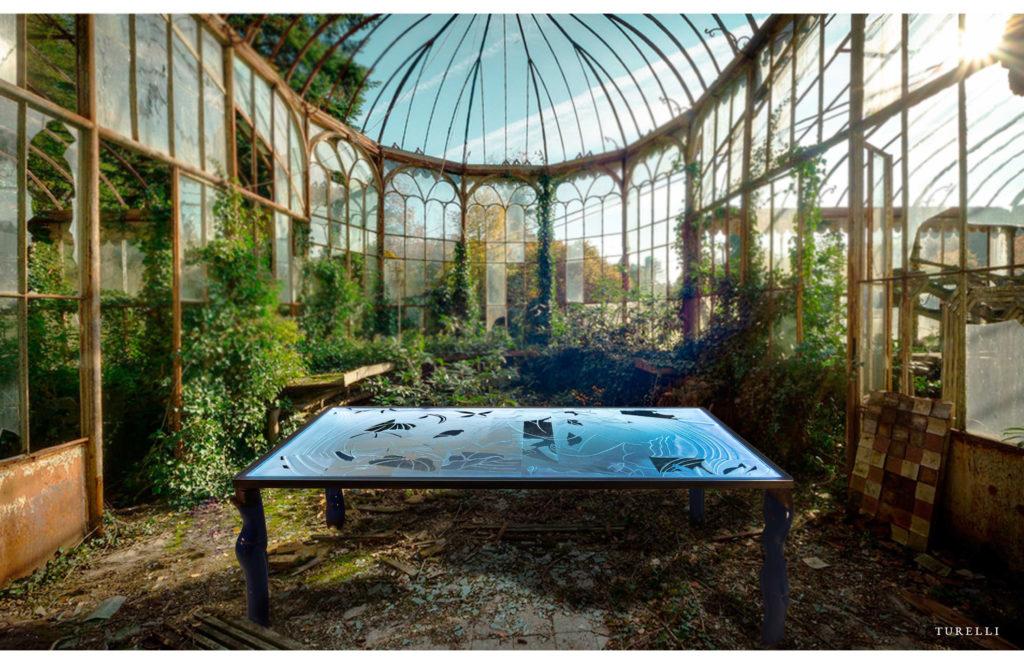 tavolo in vetro artigianale - in serra