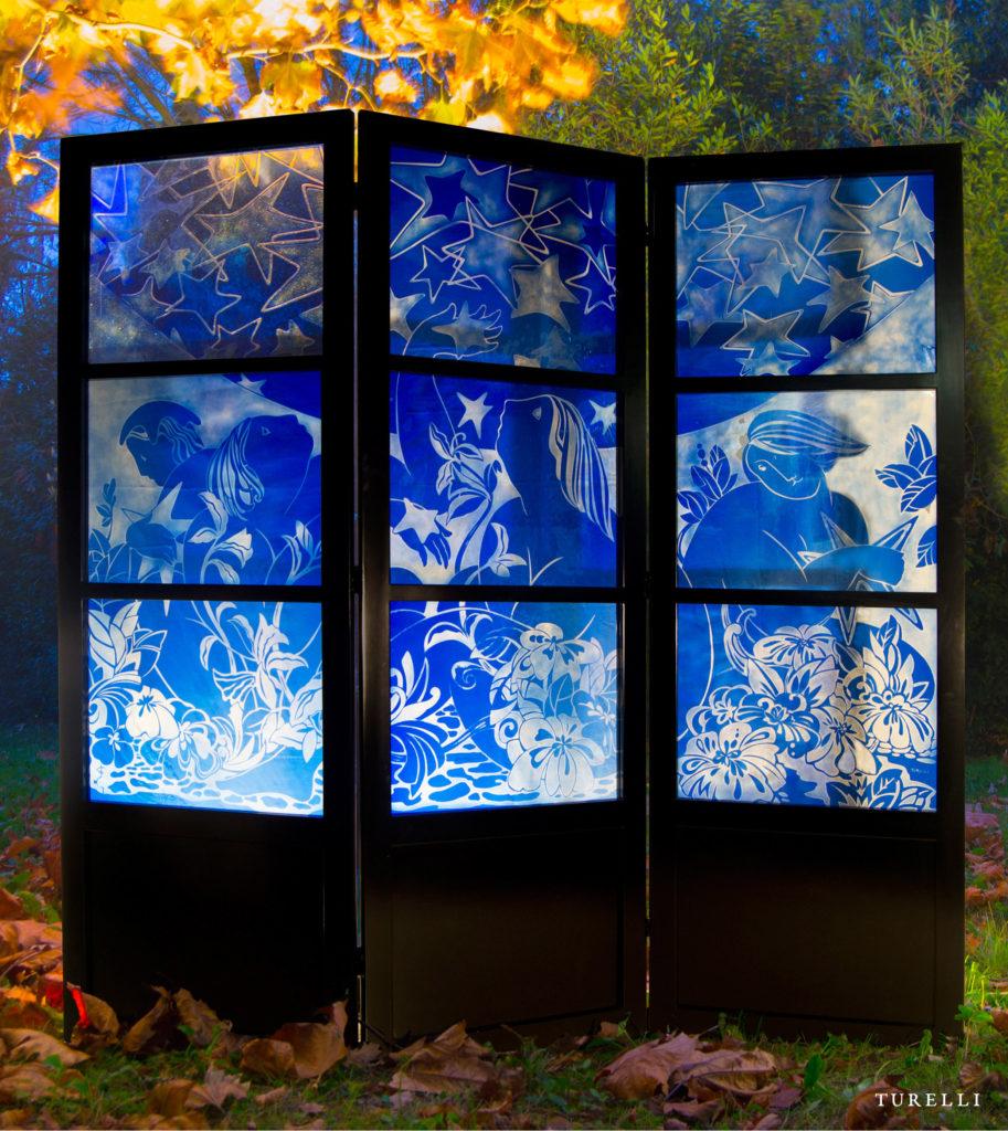 Paravento in vetro artigianale blu Turelli